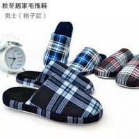 Male winter home slippers plaid cotton-padded floor soft wool slippers with slip-resistant outsole home slippers
