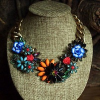 high quality 2013 vintage flower link chain bib statement choker necklace for women length 45cm
