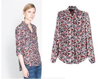 2013 Autumn European Style  Women Fashion Floral Printed Full Sleeves Cotton Blouse Shirts