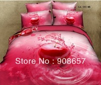 new deep pink fruit bedding queen full quilt/duvet covers cotton bedclothes girl's comforter set woven bedspreads bed sheets set