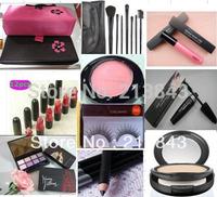 Free Ship 10PCS/Set Makeup Set EyeShadow,Lipstick,Mascara,Brush Set,Eyelash,Cosmetic Bag and So on Christmas Gift Cosmetic Set