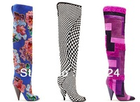 2013 latest sexy horsehair over knee boots for women purple patchwork long boots spiked heels