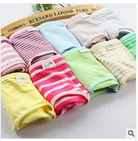 Hot Sale, New Arrival All Cotton Striped Women's Briefs 12Pcs/Lot Young Girl's Underwear Many Colors For Option