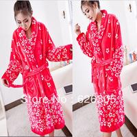 FreeShipping!Fashion Winter Flannel robe women bathrobes warm soft nightgown hooded  thickening plus size home casual Nightwear