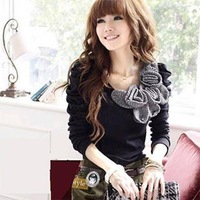 Winter new Korean Women Puff bottoming crochet flower fashion long-sleeved t-shirt 8459