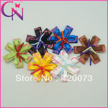 "30 pieces/lot 4"" paisley flower hair bow for baby korker hair bow for girls printed grosgrain hair bow for kids CNHB-13092811"