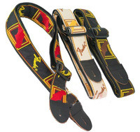 free shipping hight quality 2pcs/lot Durable Cotton textile leather head Guitar Strap Guitar belt