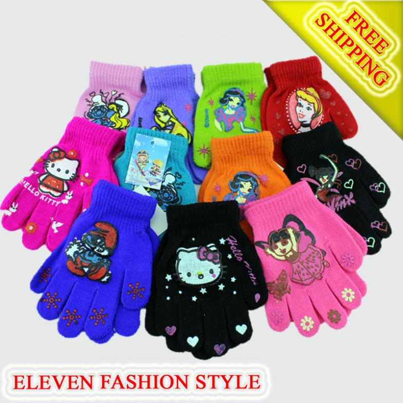 free shipping+11pairs/lot boy Girl Knitted warm Mittens Children Baby/boy Winter Student Warm Gloves & Mittens(China (Mainland))