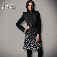 2013 fashion gradient color cashmere overcoat double breasted medium-long woolen outerwear female