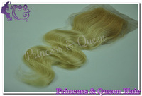 "5A Two Tone Color #27/613 Lace Closure Brazilian Virgin Hair Body Wave 4""*4"" Bleached Knots 8""-24"" Free Style Cheap Online"
