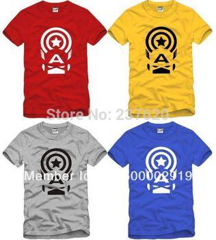 Free shipping hot sale kids t shirt captain america A logo printed t shirt 100% cotton size 90/100/110/120/130/140/150cm 6 color