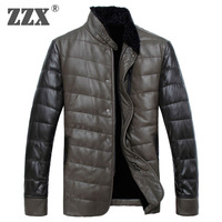 Male genuine leather clothing man slim 90% duck down coat 100%sheepskin jacket winter short design men's clothing
