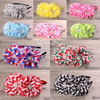 Trial Order Satin Covered Plastic Hairband with Double Chevron Chiffon Shabby Flowers BY QueenBaby 20PCS/LOT