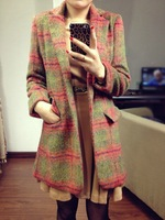 Autumn and winter fashion vintage fashion thickening outerwear plus size plaid wool coat outerwear female