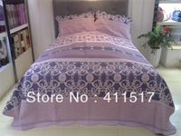 3 PCS of pure cotton quilting quilt king size quilt purple pattern bed blanket products bedroom sets