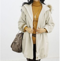 2013 autumn and winter slim lacing with a hood woolen plus size clothing outerwear loose overcoat 6721