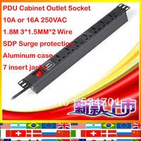 SDP surge 7 seven jack aluminum case 1.8m 1.5mm wire 10A 16A 250VAC Cabinet Socket strip