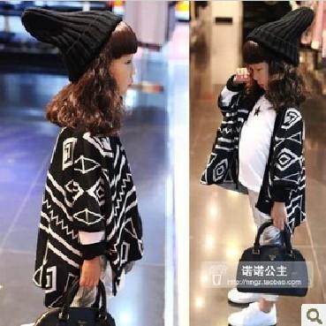 5pcs/lot 2013 autumn children clothing geometry design girls knitted cardigans cape ZZ1423(Hong Kong)