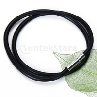 Free Shipping 3mm Black Rubber Cord Necklace with Stainless Steel Closure - 22 Inch