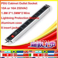 Single Lightning Protection Module 8 jacks aluminum case 1.8m 1.5mm cable 10A 16A 250VAC Cabinet strip Outlet