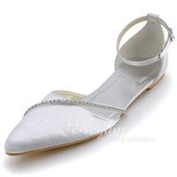 Wedding Shoes White A670 Plus Size Pointed Toe Rhinestone Ankle Strap Satin Wedding Bridal Flats
