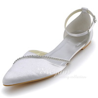 Wedding Shoes White A670 Plus Size Pointed Toe Rhinestone Ankle Strap Satin Wedding Bridal Flats