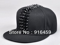 High quality 2013 wholesale Free shipping Gold silver black PUNK Hiphop baseball snapback Rivet Spike studded Dance Cap hats