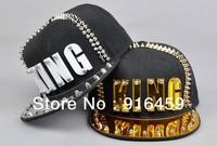 Promotion 2013 wholesale Free shipping King Gold white Crystal PUNK Hiphop baseball snapback Rivet Spike studded Dance Cap hats