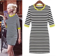 2013 europe street star high quality slim stripe casual dresses middle sleeve cotton autumn basic dress