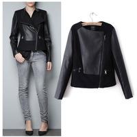 jacket womens European Style pu leather jacket Z*A* wool woolen coat womans Fashion 2015 Autumn Splicing long sleeve jackets