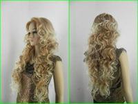 Beautiful long blonde mix women's hair wigs +Free weaving cap