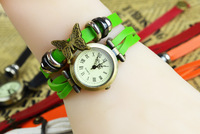 New Arrival Fashion butterfly decorate/women Leather watch Global free shipping