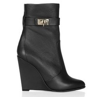 2013 fashion lock strap wedge boots for women black suede gold-tone shark tooth booties leather wrap straps booty
