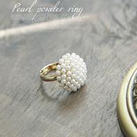 4050 elegant mushroom head white pearl ring millet beads finger ring