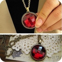 Accessories vintage red gem happy tree quality long necklace sparkling necklace