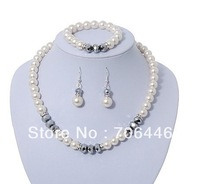 Ivory/Cream Glass Pearl and Silver Grey Crystal Wedding Necklace,bracelet and Earrings Set
