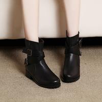 Fashion  genuine leather cowboy boots women fleece anti-slip soles  women shoes winter