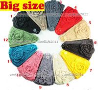 NEW big size flower Headband women Knit headband warmer Headwrap,Hair band women accessories for hair