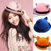 Star cat ears roll-up hem dome small fedoras female summer vintage woolen hat