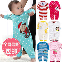 Baby bodysuit clothes male autumn newborn supplies autumn and winter spring and autumn 100% cotton romper 0-1 year old