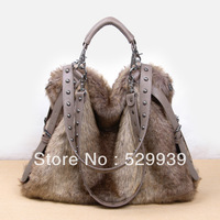 Free shipping,fall and winter faux fur female handbag,lady casual portable messenger bag,best christmass gift