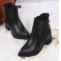 Boots fashion pointed toe genuine leather boots fashion boots cowhide thick heel martin boots women's shoes