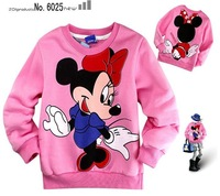 Free shipping!New! Wholesale 6 PCS/lot red cotton cartoon Minnie fleece Round collar long sleeve T-shirt//children's T-shirt