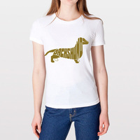 Free Shipping Fashion American Style Dachshund Dog Art Women's Slim Fit Scoop Neck T-shirt 100% Cotton Modal T-Shirt
