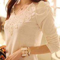 2013 autumn ladies' lace decorated O-neck plus size basic  long-sleeve t-shirt