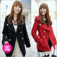2013 spring and autumn wool slim wool coat outerwear female medium-long trench preppy style