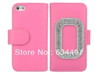 Rhinestone Folding Wallet Credit Card Multifunctional Synthetic Leather Stand Case for Apple iPhone 5 5S