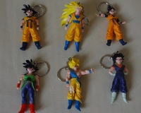 "6 pcs/lot  Dragonball Dragon Ball Z Lot 8-9.5cm(3.1-3.7"")  Action Figure GOKU SON GOKU Set toy keychain pedant free shipping"