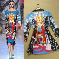 2013 Autumn / Winter Catwalk Fashion Multicolor Painting Full Sleeve Women's Novelty Dress , Free shipping