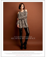 2013 Fashion Stylish Twist Stripe Off Shoulder Parti-Color Cotton Blend Sweater For Women Sexy Knitted Sweater Dress In Autumn